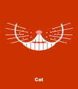 Cat smile on a red background. Vector illustration. teeth and wh Royalty Free Stock Photo