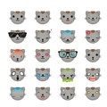 Cat smiley faces icon set. Royalty Free Stock Photo