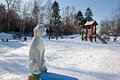 Cat statue in winter playground moscow fun of a a bittsevsky park russia Stock Image