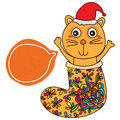 Cat stocking Christmas hat card Royalty Free Stock Photo