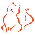 Cat symbol illustration of red isolated on white Royalty Free Stock Photography