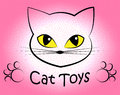 Cat toys means pedigree cats and felines showing pets plaything kitten Stock Photography