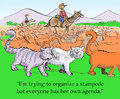 Cat tried to organize a stampede i m trying but everyone has her own agenda Royalty Free Stock Images