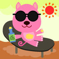 Cat under the sun a cartoon illustration of a applying block lotion in a beach Stock Images