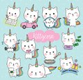 Cat Unicorn Life Activity Planner Vector Illustration