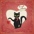 Cat valentine vector s day greeting card with and heart Royalty Free Stock Image