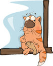 Cat at the window cartoon red striped sits on a sill Royalty Free Stock Image