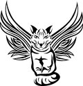 Cat with wings tattoo stencil Stock Image