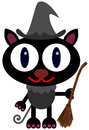 Cat witch a cute illustration of a black dressed like a and holding a broom Royalty Free Stock Photography