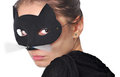 Cat woman a girl with a mask on her face Royalty Free Stock Images