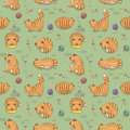 Seamless pattern with cats player. Cats and toys in flat style on blue background. Vector illustration.
