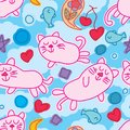 Cat zen dream seamless pattern