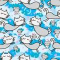 Cat zen fly seamless pattern