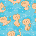 Cat zen life seamless pattern
