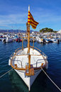 Catalan boat in mediterranean marina beautiful traditional at dock the village of puerto de la selva costa brava spain Stock Photo