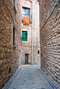Catalan flags placed on balcony on street in Girona, Spain Royalty Free Stock Photography