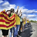 The catalan way in ametlla de mar catalonia spain september partakers on september million people took part human Stock Images