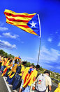 The catalan way in ametlla de mar catalonia spain september partakers on september million people took part human Stock Photos