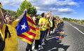The catalan way in ametlla de mar catalonia spain september partakers on september million people took part human Royalty Free Stock Photo
