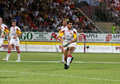 Catalans Dragons vs Hull KR Stock Image