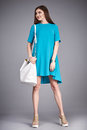 Catalog of fashion clothes for business woman mom casual office style meeting walk party silk cotton dress summer collection acces Royalty Free Stock Photo