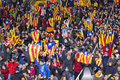 Catalonia national team supporters the football of beat cape verde at the annual christmas friendly match in lluís companys Royalty Free Stock Photography