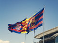Catalonia photo taken at the stadium of fc barcelona in the picture we see the flag of and fc barcelona Stock Photography