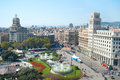 Catalonia square view of in the sunshine day barcelona spain Stock Photos