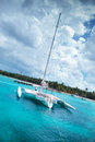 Catamaran in a bay near saona island Royalty Free Stock Image