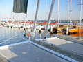 Catamaran deck Stock Images