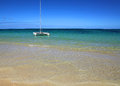 Catamaran on lanikai beach oahu hawaii Royalty Free Stock Photo