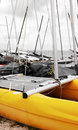 Catamaran sail boat beach Stock Image