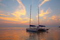 Catamaran at sea near tropical beach Royalty Free Stock Photo