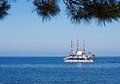 Catamaran taking tourists on a boat trip beautiful summers day in turkey Royalty Free Stock Image