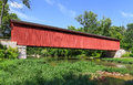 Cataract covered bridge spans mill creek in rural owen county indiana Royalty Free Stock Images