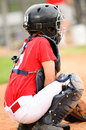 Catcher in red jersey Royalty Free Stock Photo