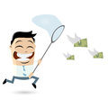 Catching money illustration of a man Royalty Free Stock Photos