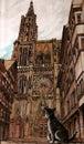 A catedral de Strasbourg Imagens de Stock