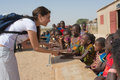 Caterina murino matam senegal circa november actress greets the children of an elementary school is the Stock Photo