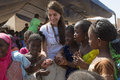 Caterina murino matam senegal circa november actress greets the children of an elementary school is the Royalty Free Stock Images