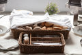 Catering. A bread basket with Cutlery and snacks for cocktail parties Royalty Free Stock Photo