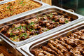 Catering Buffet Asian Food Dish with Meat Royalty Free Stock Photo