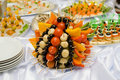 Catering buffet style - tomatoes and olives Royalty Free Stock Image