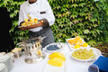 Catering event chef cooking fruit Royalty Free Stock Photography