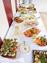 Catering food table with various Stock Photo