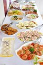 Catering food table with various Stock Images
