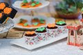 Catering food at a wedding party indoor wedding scene Royalty Free Stock Photos
