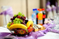 Catering - fruits on table - Wedding setting Royalty Free Stock Image