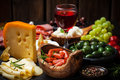 Catering platter with different meat and cheese products Royalty Free Stock Photography