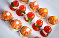 Catering services background with snacks and cherry tomatoes Stock Images
